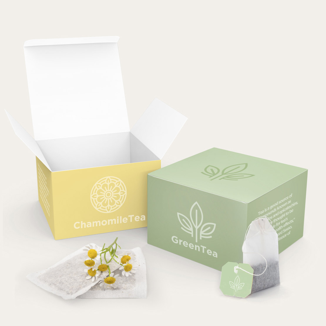 two custom product boxes for tea